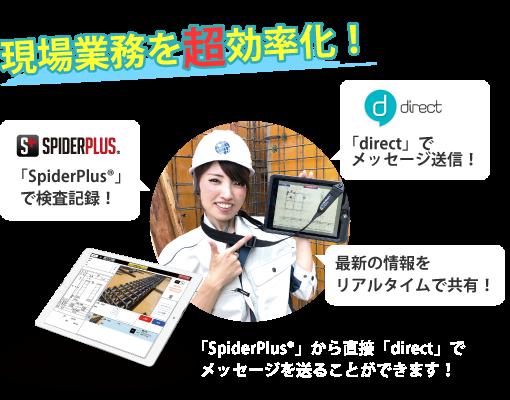 「SPIDERPLUS®」から直接「direct」でメッセージを送ることができます!