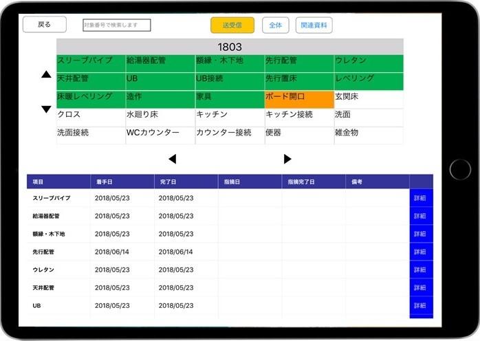 工事進捗管理の画面イメージ